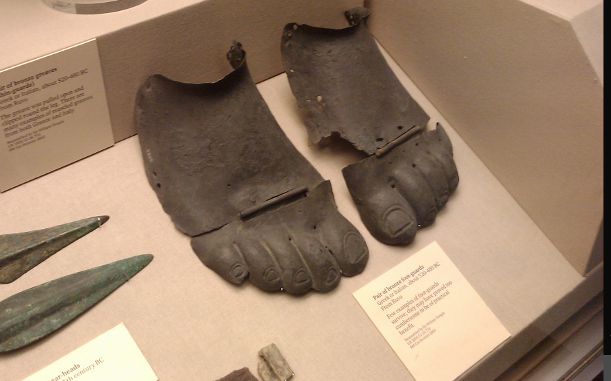 Ancient Greek bronze instep guards